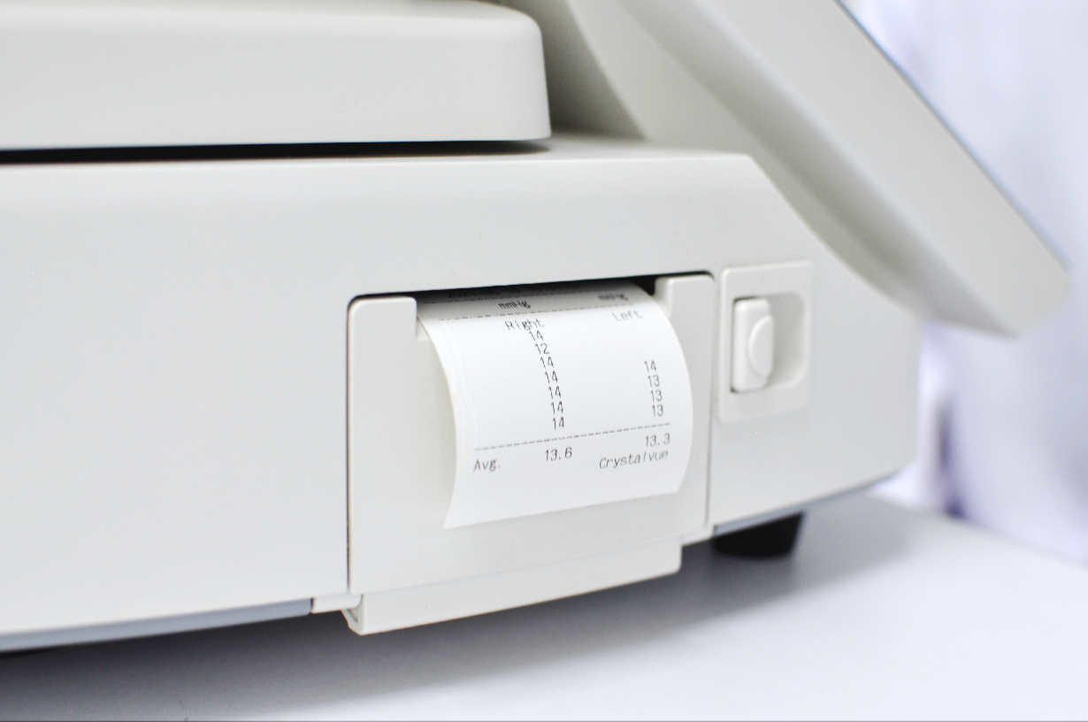 Crystalvue Tonometer is equipped with Thermal Printer with Auto Cutter